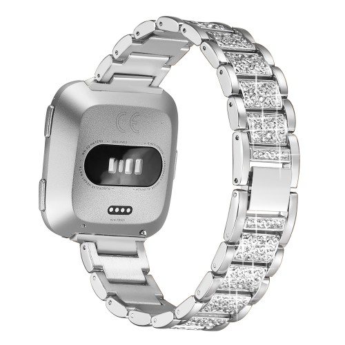 bayite Bling Bands Compatible with Fitbit Versa Band for Women, Metal Bracelet Replacement Wristband Smartwatch Accessories, Silver