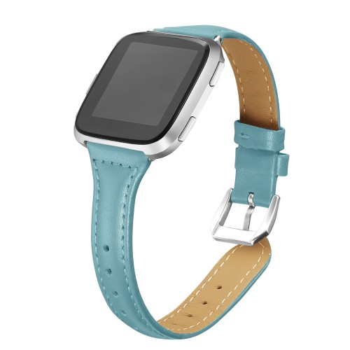 "bayite Bands Compatible with Fitbit Versa 2 / Fitbit Versa Lite/Fitbit Versa, Slim Genuine Leather Band Replacement Accessories Strap Versa Women Men (5.3""-7.8"") (Teal)"