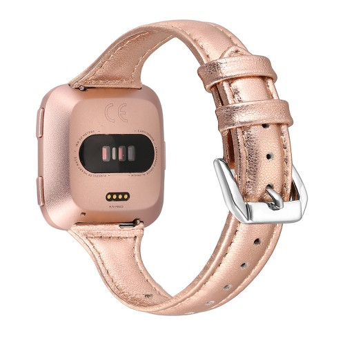 "bayite Bands Compatible with Fitbit Versa 2 / Fitbit Versa Lite/Fitbit Versa, Slim Genuine Leather Band Replacement Accessories Strap Women (Rose Gold, 5.3"" - 7.8"")"