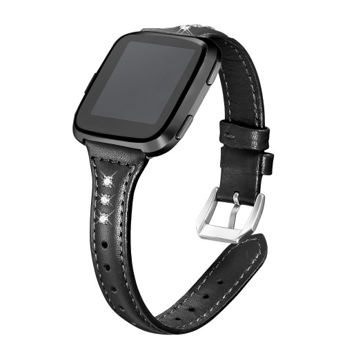 bayite Bands Compatible Fitbit Versa/Fitbit Versa Lite/Fitbit Versa 2, Slim Genuine Leather Band Replacement Accessories Strap Women Black w/Rhinestone