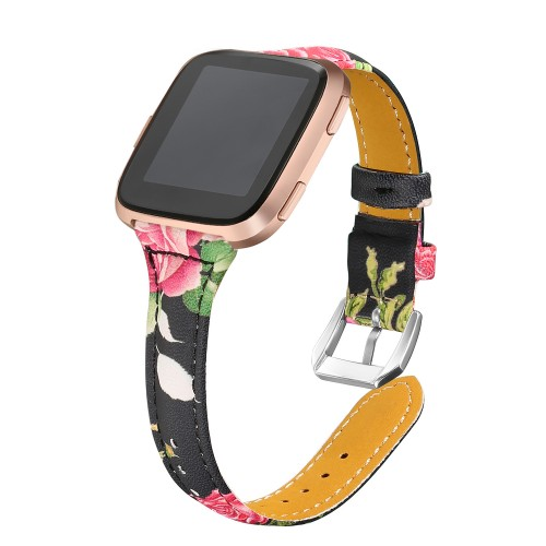 bayite Bands Compatible Fitbit Versa/Fitbit Versa Lite/Fitbit Versa 2, Slim Genuine Leather Band Replacement Accessories Strap Versa Women Flower Pattern 1