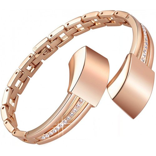 bayite Metal Bands Compatible with Fitbit Alta and Alta HR, Set with Rhinestone, Slim Rose Gold