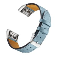 bayite Leather Bands Compatible with Fitbit Charge 2, Replacement Accessories Straps Women Men, Stone Blue