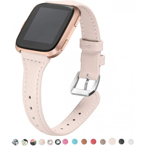 "bayite Bands Compatible with Fitbit Versa/Fitbit Versa Lite/Fitbit Versa 2, Beige (5.3""-7.8""), Slim Genuine Leather Band Replacement Accessories Strap Women"
