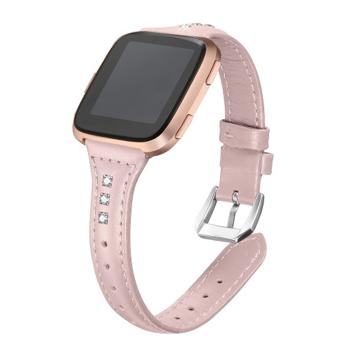 bayite Bands Compatible with Fitbit Versa/Fitbit Versa Lite/Fitbit Versa 2, Slim Genuine Leather Band Replacement Accessories Strap Women Pink w/Rhinestone