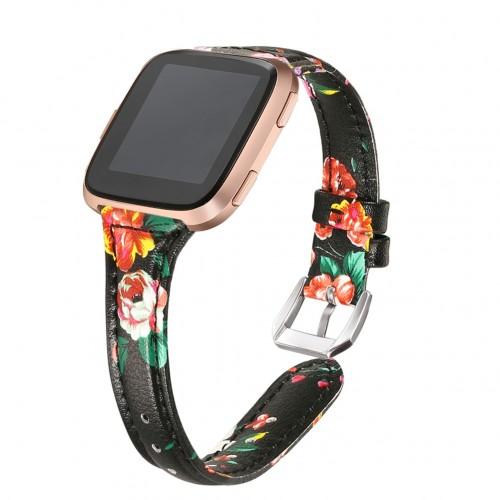 bayite Bands Compatible Fitbit Versa 2 / Fitbit Versa Lite/Fitbit Versa, Slim Genuine Leather Band Replacement Accessories Strap Versa Women Flower Pattern 5