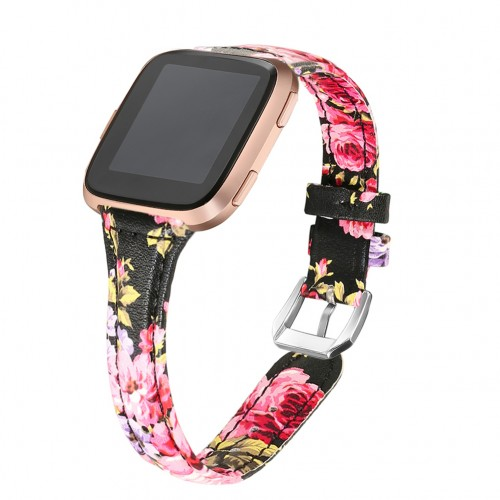 bayite Bands Compatible Fitbit Versa 2 / Fitbit Versa Lite/Fitbit Versa, Slim Genuine Leather Band Replacement Accessories Strap Versa Women Floral Pattern 6