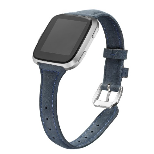 "bayite Bands Compatible Fitbit Versa 2 / Fitbit Versa Lite/Fitbit Versa, Slim Genuine Leather Band Replacement Accessories Strap Versa Women Men (5.3""-7.8"") (Dark Blue/Ocean)"