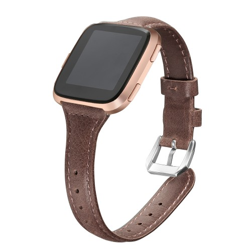 "bayite Bands Compatible Fitbit Versa 2 / Fitbit Versa Lite/Fitbit Versa, Slim Genuine Leather Band Replacement Accessories Strap Versa Women Men (5.3""-7.8"") (Gray Brown)"